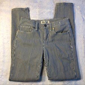 Madewell Cropped Pin Stripe Skinny Jeans Sz 25